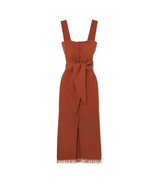NANUSHKA Riley Tie-Front Button Down Midi Dress with Fringe In Brick - $245.00