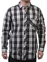 LRG Mens Off White Black Sicker Than Most Long Sleeve Woven Button Up Down Shirt