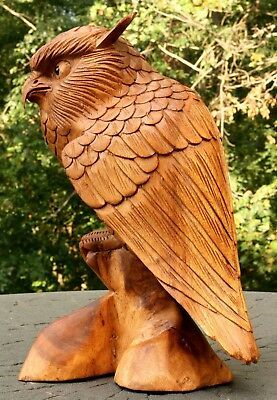 """12"""" Large Wooden Owl Statue Hand Carved Sculpture Figurine Art Home Decor Gift image 2"""