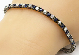 925 Silver - Vintage Round Cut Prong Set Kyanite & Topaz Chain Bracelet ... - $40.11