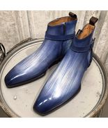 Handmade Leather Patina Ankle Boots Formal Men Shoes Custom boots  - $179.99+