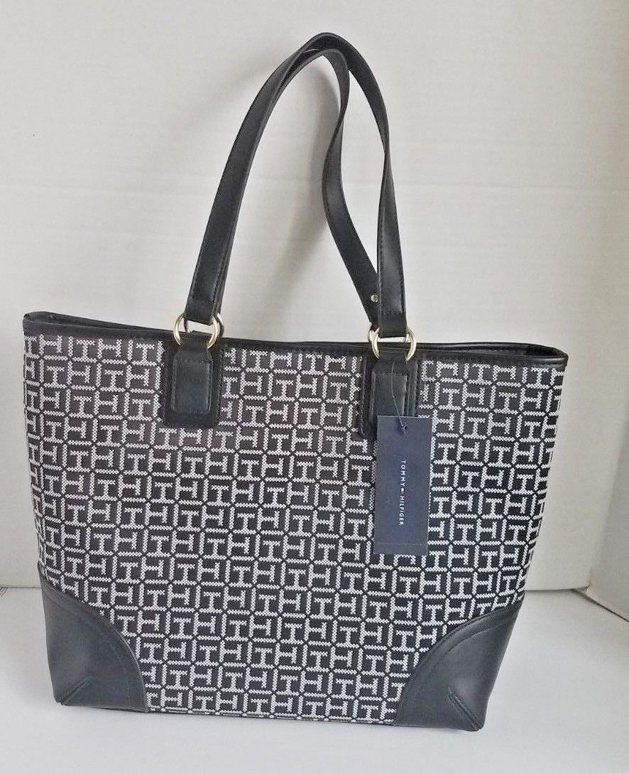 Tommy Hilfiger Womens Tommy Signature Pebble Tote Black One Size