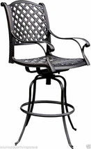 Patio bar stools Set of 4 Outdoor Furniture Nassau Swivel Cast Aluminum Bronze image 2
