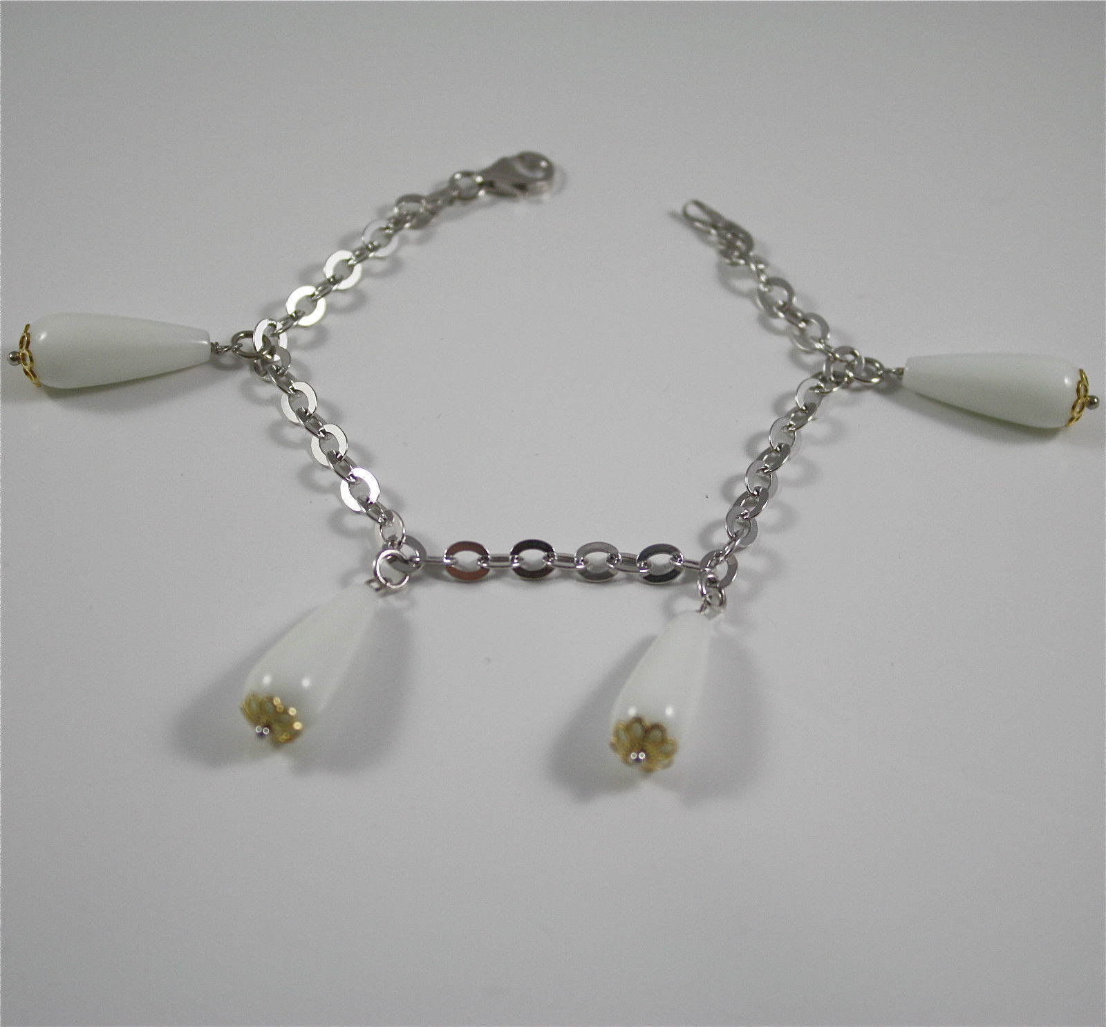 Bracelet in Sterling Silver 925 Rhodium and Yellow Gold Plated, White Agate Drop
