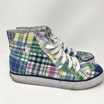 Vtg Polo Ralph Lauren Brisbane Madras 7 Mens Plaid HI-TOPS Lace Up Sneakers  - $18.99