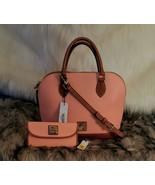 NEW Dooney & Bourke Pale Pink Leather Domed Zip Zip Satchel & Checkbook ... - $189.99