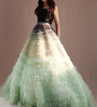 Women Tiered Maxi Tulle Skirt Wedding Bridal Train Skirt Outfit Evening ... - $459.99