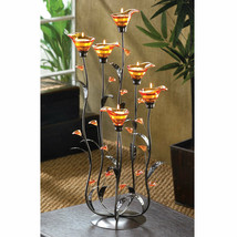 Candle Holder Six Cala Lily Amber Glass Tea Light Candlehilder Floral Theme - $59.35