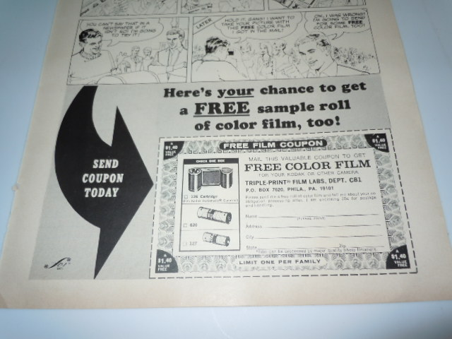 Vintage Free Color Film Triple Print Film Labs Print Magazine Advertisement 1971