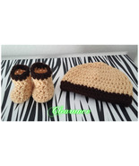 Newborns Crochet Set (Hat & Booties)/ Brown and Yellow - $15.00