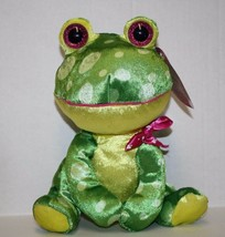 "Looky Boos FROG 11"" Sugar Loaf Valentine Heart Bow Shiny Plush Soft Toy Kellytoy - $12.75"