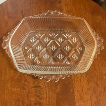 Anchor Hocking Vintage Glass Beaded Handled Ribbed Candy Dish - $5.94