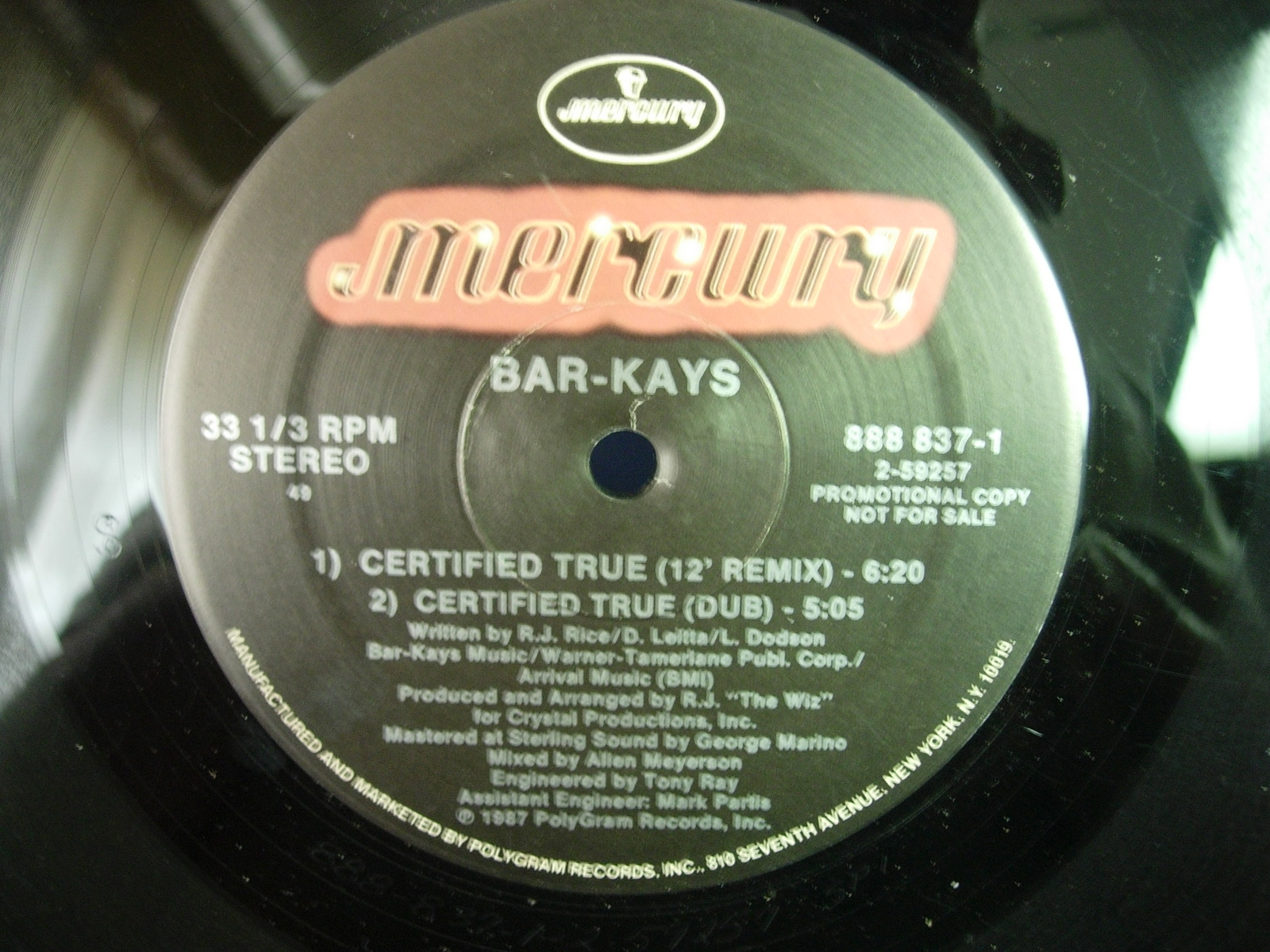 Bar Kays - Certified True - Mercury 888 837-1 - PROMO