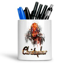 Personalised Any Text Name Ceramic dead pool Pencil Pot Gift Idea Kids A... - $12.89