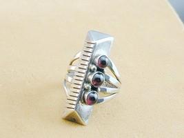 Vint Modernist Sterling Silver Rhodolite Garnet Cabochon Ring N. Mace 6.75 - $149.99
