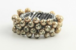 "7"" ESTATE VINTAGE Jewelry FX PEARL CHA CHA EXPANSION BRACELET 1950's - $15.00"