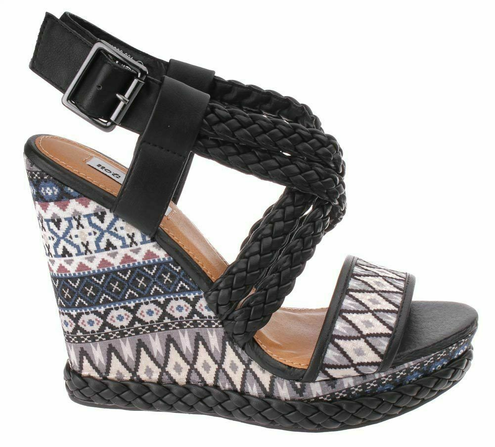 Not Rated Monaco Tribal Native American Print Braided Wedge Open Toed Sandal 8.5
