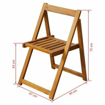 vidaXL 2x Solid Acacia Wood Folding Garden Chairs Outdoor Seat Dining Chair image 5