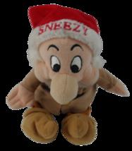 SNEEZY in Christmas Hat Snow White Dwarf Beanbag Disney Parks Souvenir - $24.99