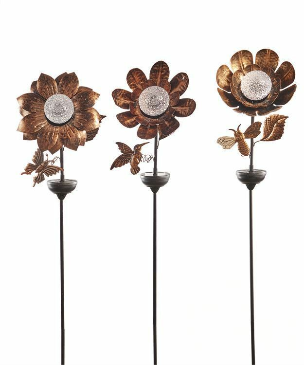 Set of 3 Solar Floral Design Metal Garden Stakes Double Pronged NEW