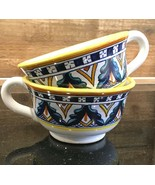 "2 Franco Mari Hand Painted 2-1/4"" Flat Coffee Cups Dip A Mano Deruta Italy  - $39.99"