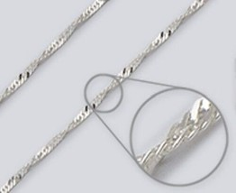 Wave Chain Necklace -- 2.4mm* width, 16 inch* length --.925 Sterling Silver - $11.92