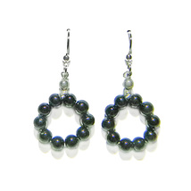 "4mm Black Onyx Beaded Ring 3/4"" Sterling Silver Drop Earrings - $18.99"