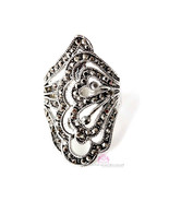 Beauty for Ashes Marcasite Silver CZ Elongated Filigree Long Womens Gala Ring - $32.00