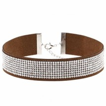 Black Leather Rhinestone Choker Necklace Women Crystal Choker Fashion Je... - $5.09