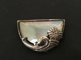 Vintage Hematite Silvertone Brooch with Floral Overlay Unmarked - $10.84