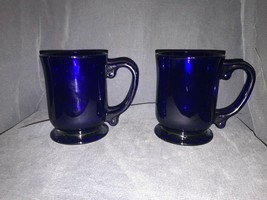 """A pair of Cobalt Blue Glass Coffee Mug Cups Footed 4 1/2"""" - $31.68"""