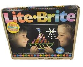 LITE-BRITE Magic Screen Set 214 Pegs Templates Light Bright Box Bigger Brighter - $14.85