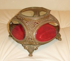Vintage Ormolu Gold Filigree Glass Jewelry Casket Trinket Box - $199.00