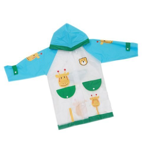 BLUE Girraffe Toddler Rain Day Outerwear Baby Rain Jacket Infant Raincoat L