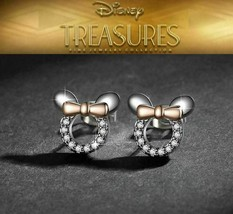 Girls Disney Park Mickey Minnie Mouse Ears Bow CZ Pearl Stud Jewelry Earrings - $9.89