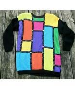 VTG Colorblock Sweater S Mondrian Orange Yellow Green Purple Jewel Tones... - $26.58