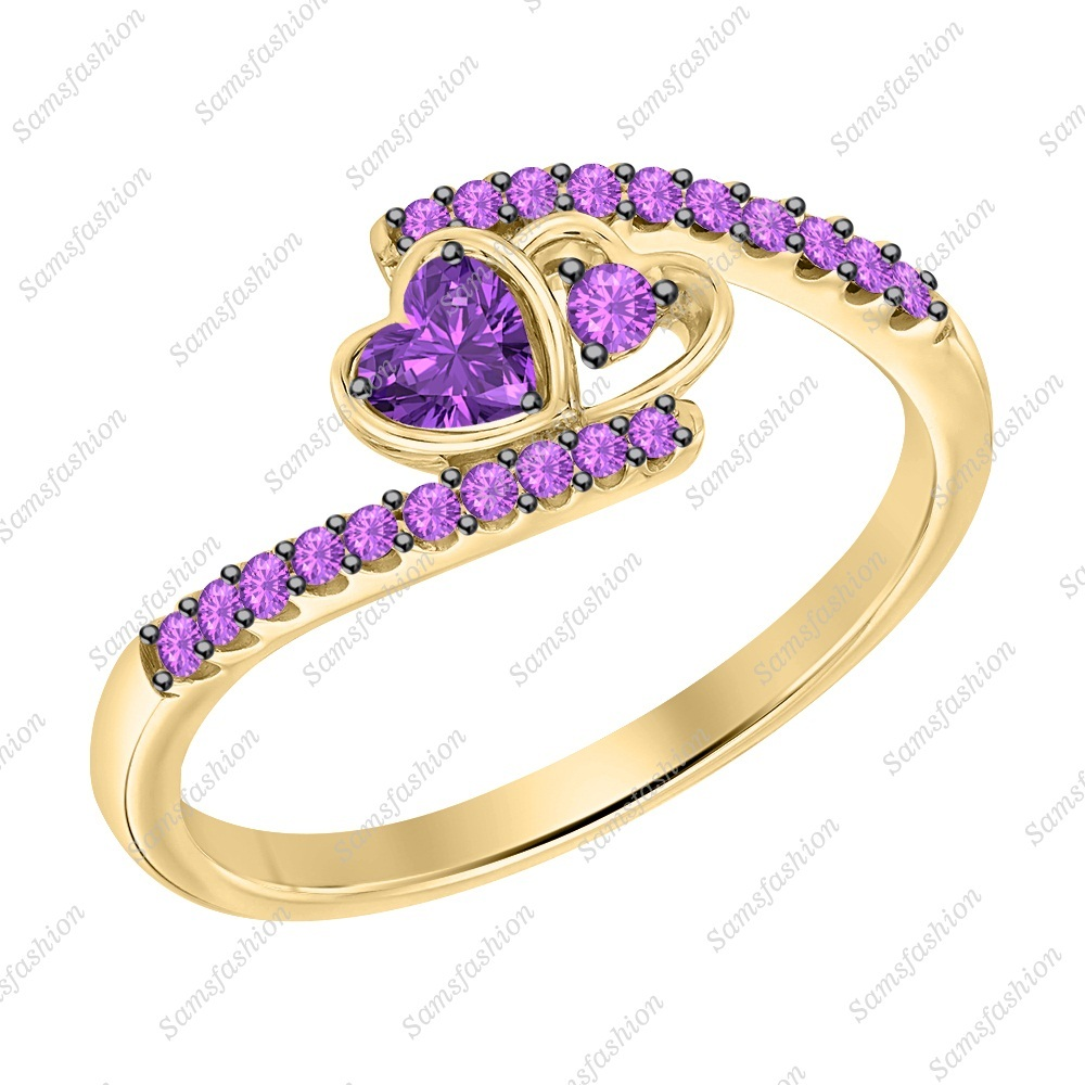 Primary image for Heart Shaped Amethyst 14k Yellow Gold 925 Silver Double Heart Anniversary Ring