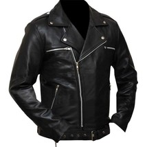 Negan Walking Dead S7 Jeffrey Dean Morgan Black Leather Jacket image 2