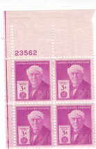 1947 3c Thomas Edison Plate Block of 4 US Postage Stamps Catalog Number 945 MNH