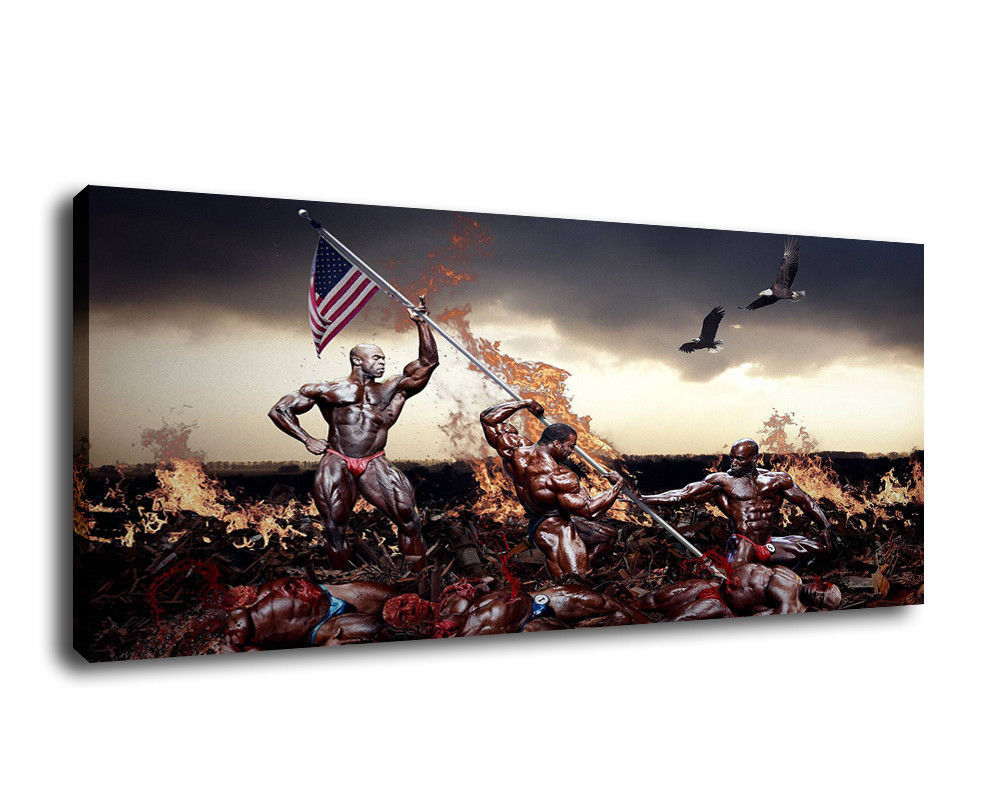 Cartoon Art Home Decor Oil Painting Print On Canvas Man's War And USA Flag Frame