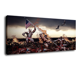 Cartoon Art Home Decor Oil Painting Print On Canvas Man's War And USA Fl... - $16.54+