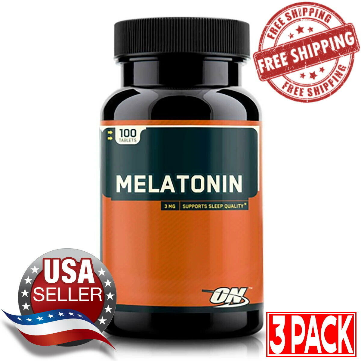 Primary image for 3 Pack Optimum Nutrition Melatonin 3mg (100 Tabs) New Sealed Free Shipping