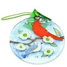 Cardinal & Chickadee Fused Art Glass Ornament Sun Catcher Handmade Ecuador image 2