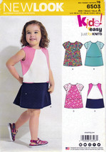 New Look 6503 Toddler Girls Knit Tops Simplicity Sewing Pattern Child Size 1/2-4 - $6.45