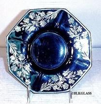 Silver Overlay Ebony Jet Black Glass Octagon Serving Plate Insert Well C... - $34.99