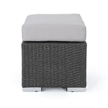 Gray Wicker Outdoor Ottoman with Silver Cushion - £54.76 GBP