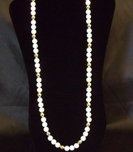 NAPIER GOLD and WHITE Beads Necklace Classic Estate Vintage Career - $17.33