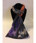 Hand Painted Silk Scarf Peach Orange Grey Purple Oblong Unique Hair Neck... - $46.00