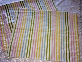 Vtg Pair of Muslin Steven Utica Pillow Cases Candy Stripes Pink Turquois... - $10.70