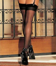 Shirley of Hollywood BLACK Sheer Back Seam Stockings, US One Size - $8.91